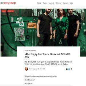 21.03.31 Die Ostschweiz Saint City Orchestra WE ARE AVA Empty Pub Tour